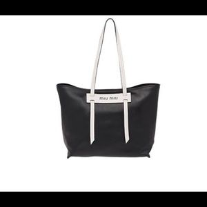 Miu Miu Grace Small Tote Black/White NWT